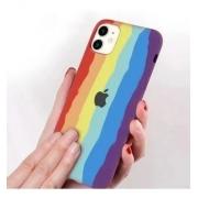 Capa Arco Íris de Silicone Compatível com iPhone 12 Mini