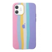 Capa Arco Íris Tons Pasteis de Silicone Compatível com iPhone 12 Mini