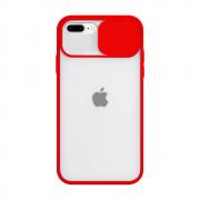 Capa Com Proteção Para Câmera Vermelha Compatível com iPhone 7 Plus