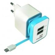 Carregador turbo com cabo embutido e 2 portas USB Azul