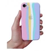Case Arco Íris Tons Pasteis de Silicone Compatível com iPhone 7/8 Plus