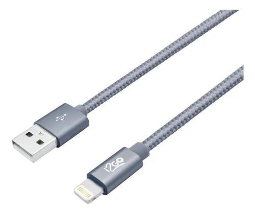 Cabo Lightning Para USB Certificado MFi 2m 2,4A Nylon Trançado Chumbo