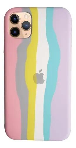 Capa Arco Íris Tons Pasteis de Silicone Compatível com iPhone 11 Pro