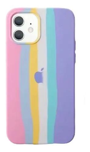 Capa Arco Íris Tons Pasteis de Silicone  Compatível com iPhone 12/12 Pro