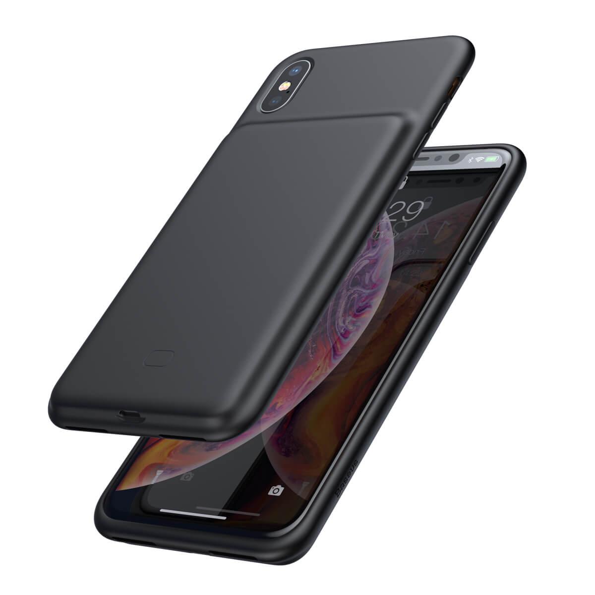 Capa Carregadora Baseus Plint Preta Compatível com iPhone XS Max