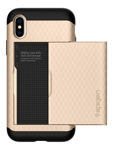 Capa Crystal Wallet Champagne Gold Compatível com iPhone X/XS