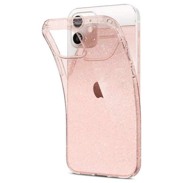 Capa Liquid Crystal Glitter Rose Quartz Compatível com iPhone 12 Mini