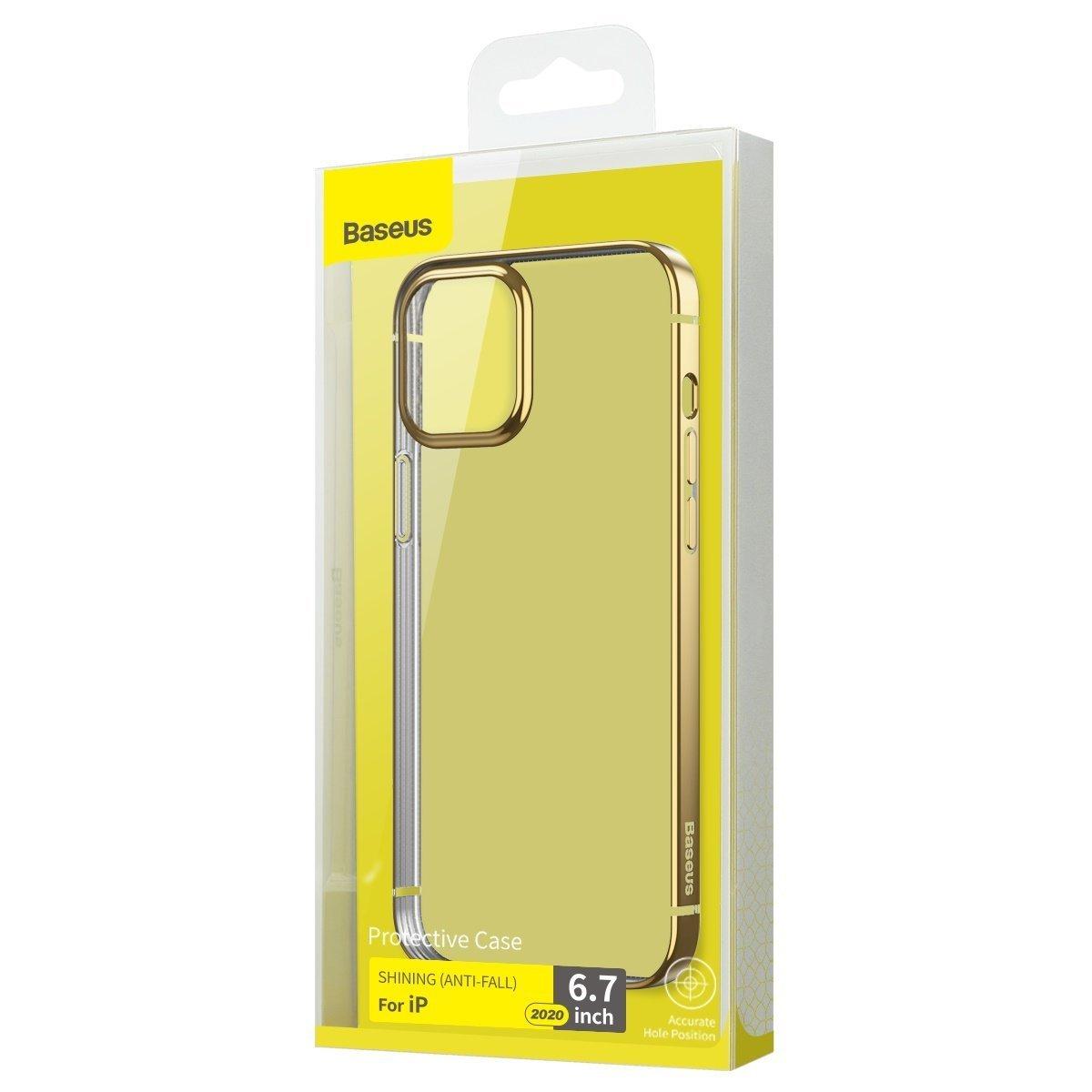 Capa Shining Anti-Fall Dourado Compatível com iPhone 12/12 Pro