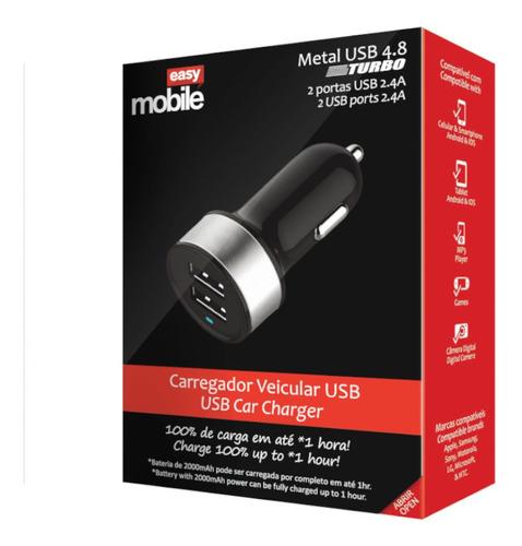Carregador Metal USB Turbo Veicular 4.8 Branco