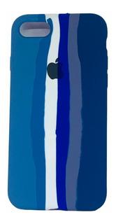 Case Arco Íris Escuro de Silicone Compatível com iPhone 7/8 Plus