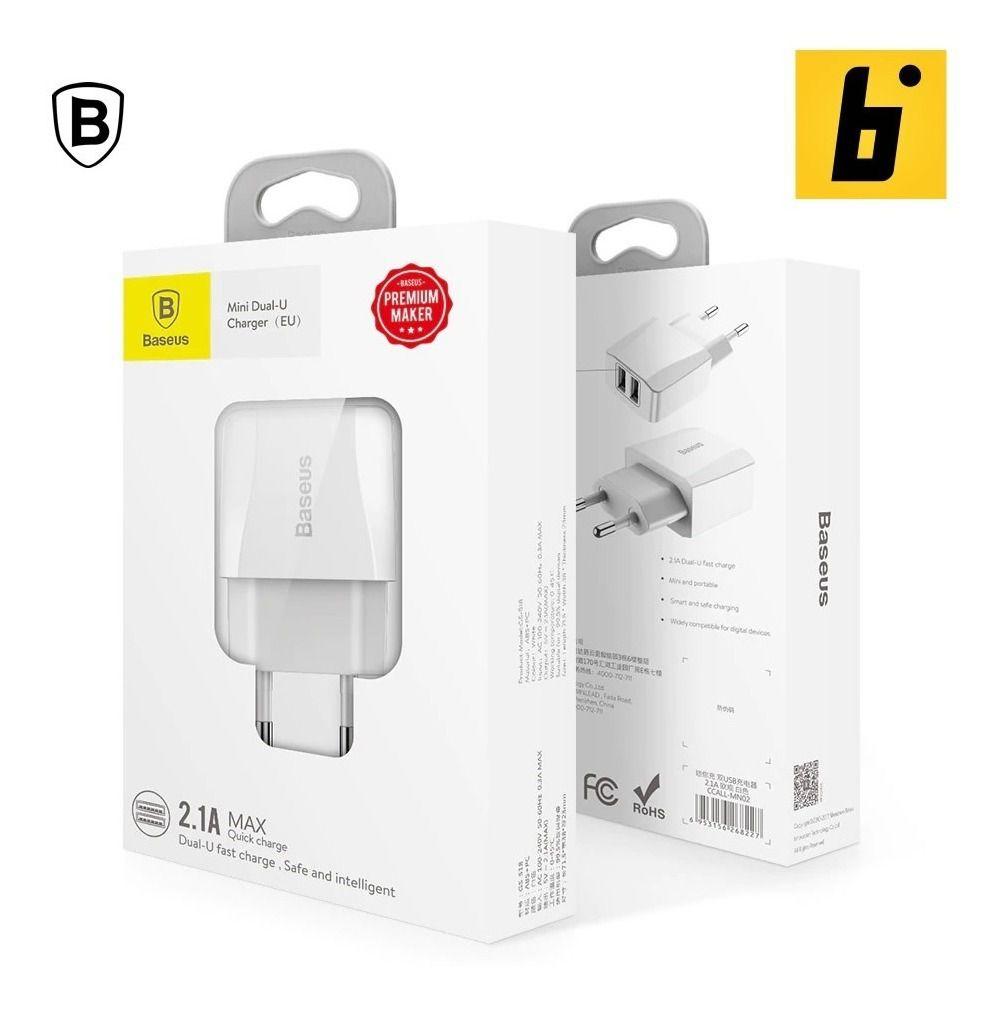 Mini Carregador Duplo USB Baseus Branco