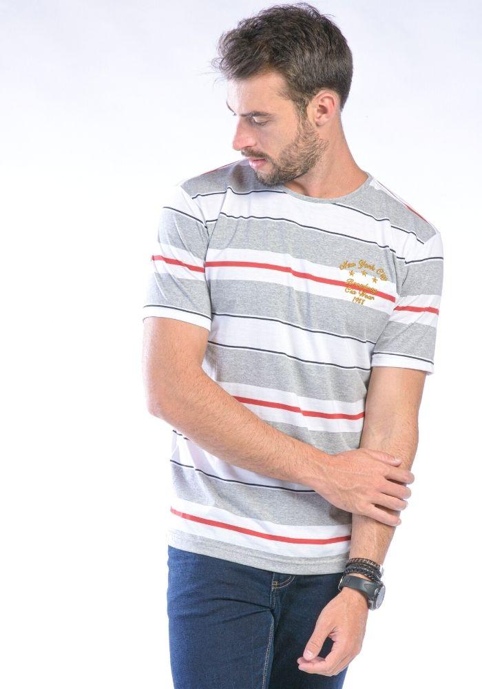 Camiseta Manga Curta Branco Listrada Cia Wear