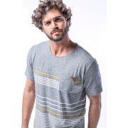 Camiseta Eco em Botone com Listras em Fio Tinto- Azul Mescla