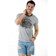 Camiseta Manga Curta Custom Motors Cinza Mescla