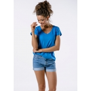 Camiseta Manga Curta Feminina Azul Basic
