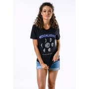 Camiseta Manga Curta Feminina Moon Light Preta