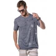 Camiseta Manga Curta Full Maps Marinho Mescla