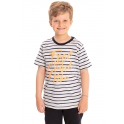 Camiseta Manga Curta Infantil Listrada Feel Good Mescla
