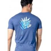 Camiseta Manga Curta Leaf Colors Azul Mescla