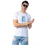 Camiseta Manga Curta Life Is A Sea Azul Marinho