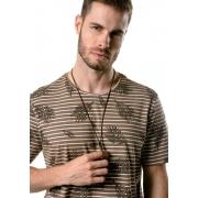Camiseta Manga Curta Listrada Tropical Brown Marrom
