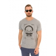 Camiseta Manga Curta Long Skull Cinza Mescla