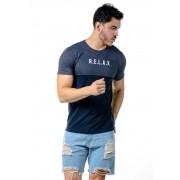 Camiseta Manga Curta Recorte Relax Marinho Mescla