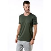 Camiseta Manga Curta Verde Militar Logo Básica Cia Gota