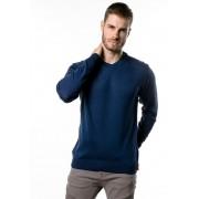 Suéter de Tricô Basic Gola V Loma Negra Marinho