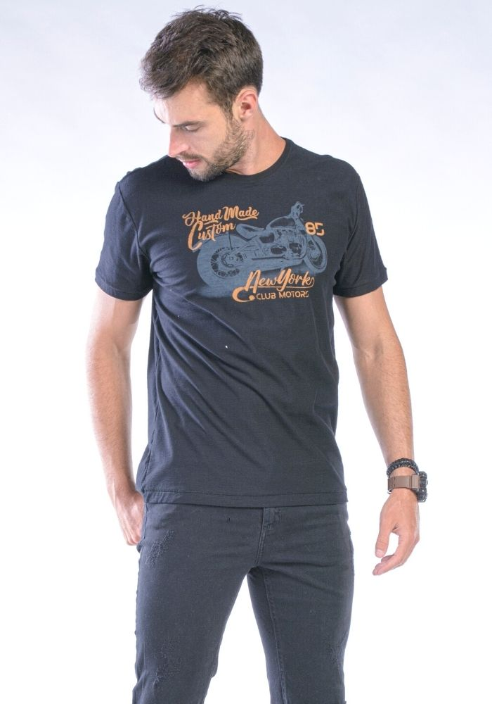 Camiseta Manga Curta Preto Hand Made
