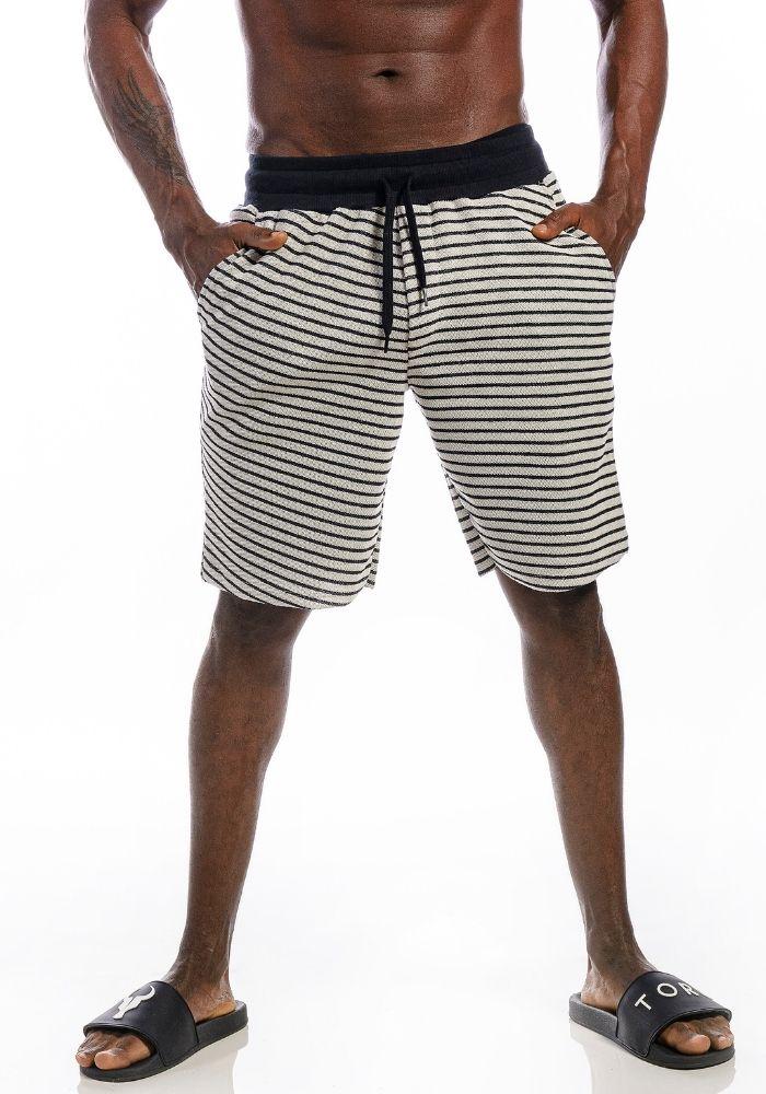 Bermuda de Moletom Listrada Black And White