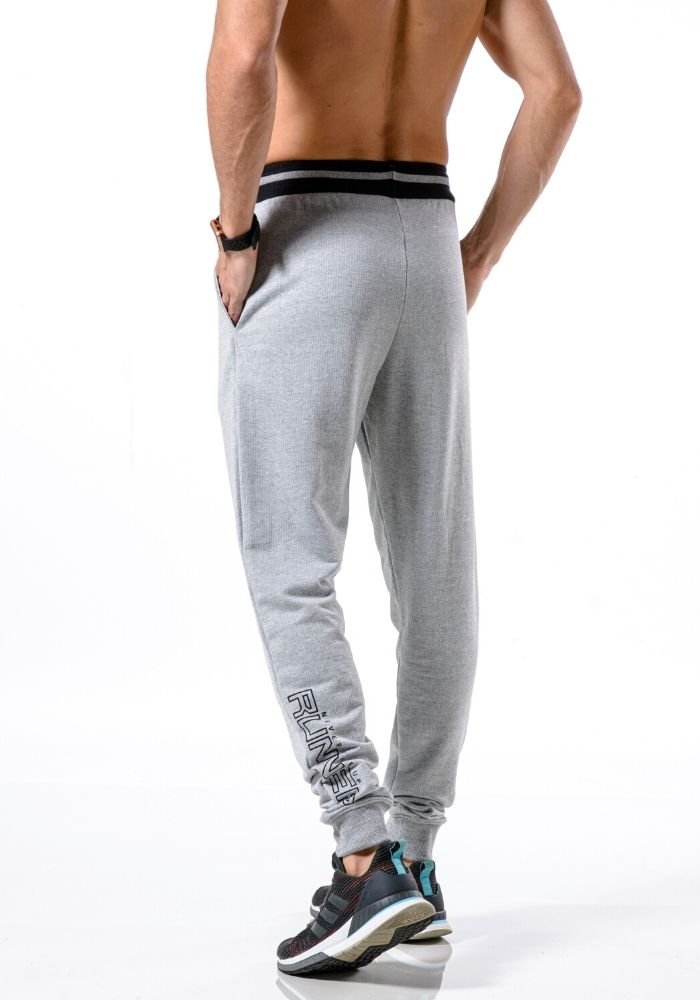 Calça de Moletom Jogger Runner Style Cinza Mescla