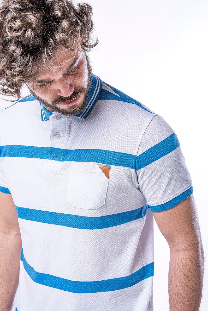 Camisa Polo Masculina em Piquet com Bolso - Branca