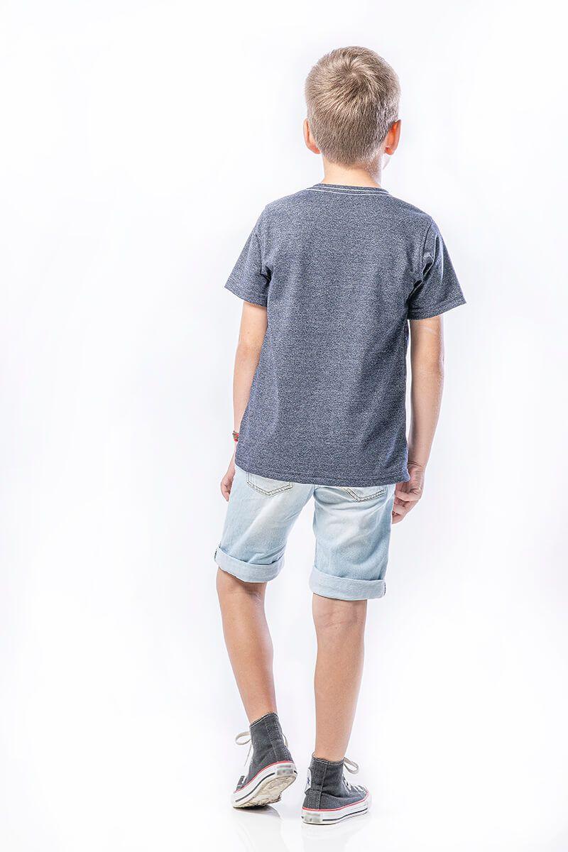 Camiseta em meia malha molinê, decote careta com estampa frente - marinho