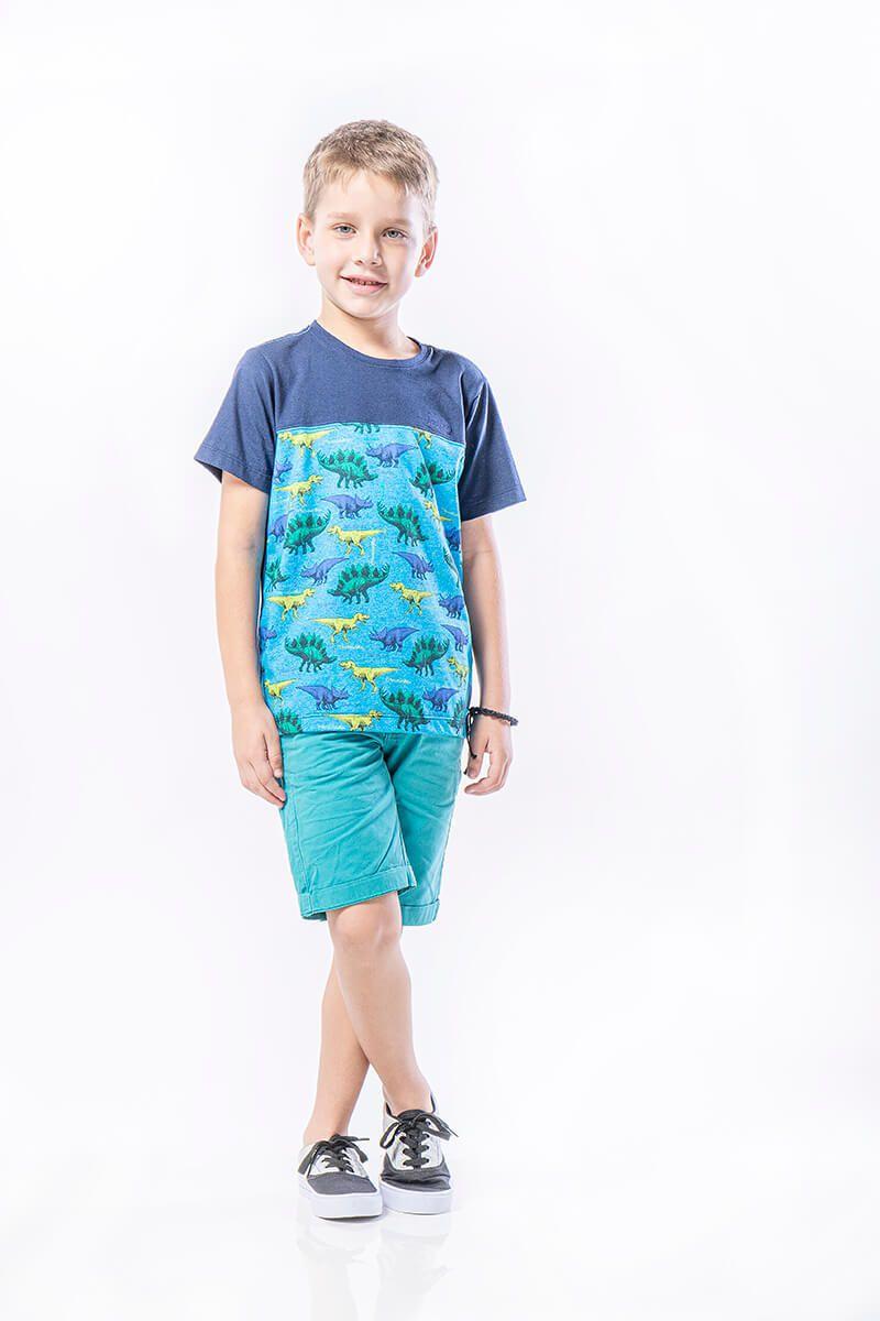 Camiseta Infantil em Meia Malha Decote Careca com Recorte e Estampa Dinossauros - Azul Marinho