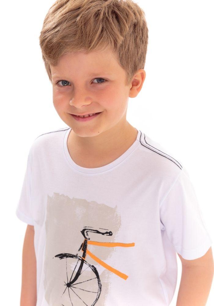 Camiseta Infantil Manga Curta Padaling Branco