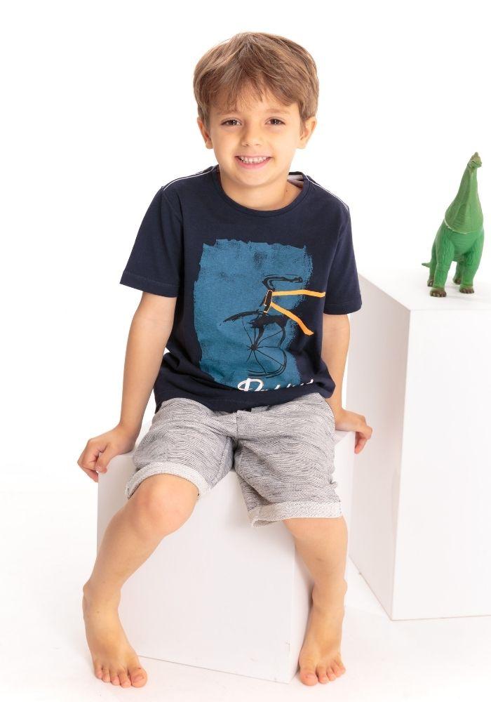 Camiseta Infantil Manga Curta Padaling Marinho