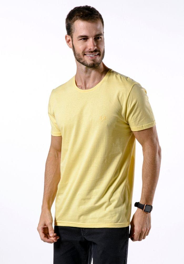 Camiseta Manga Curta Amarela Logo Básica Cia Gota