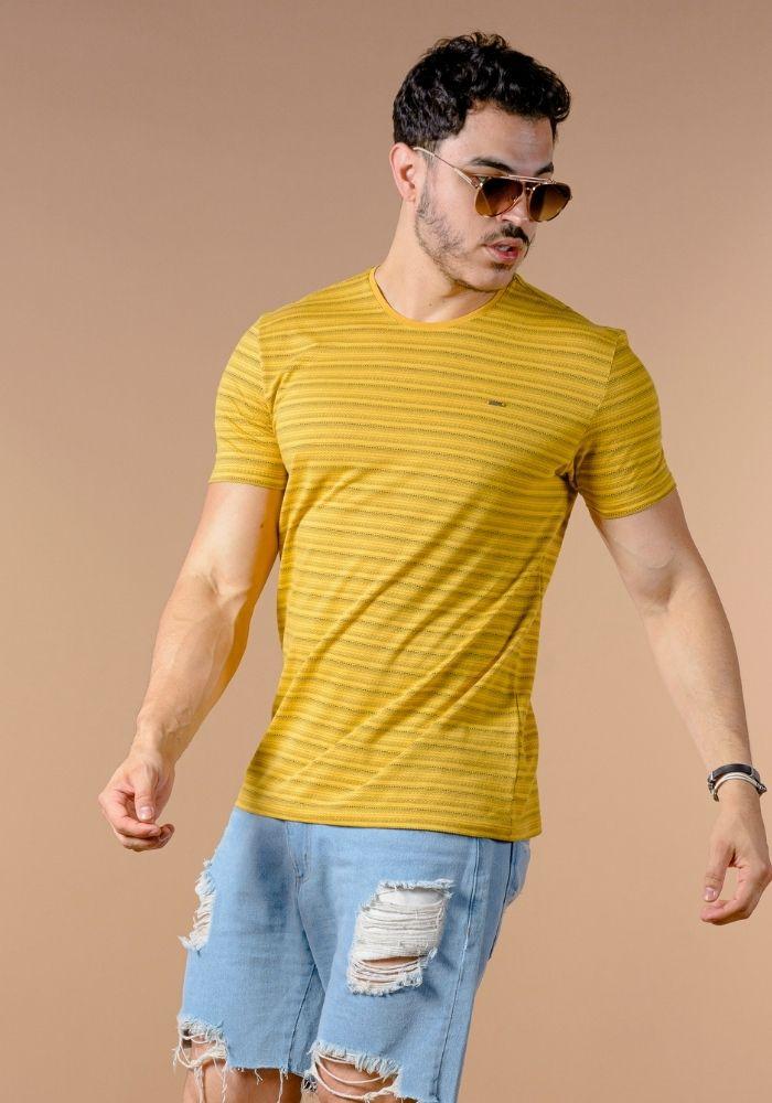 Camiseta Manga Curta Amarelo Jacquard Etnico
