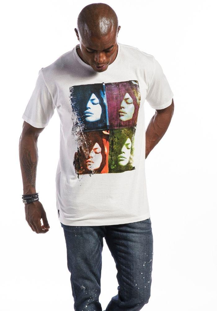 Camiseta Manga Curta Arts Faces Branca