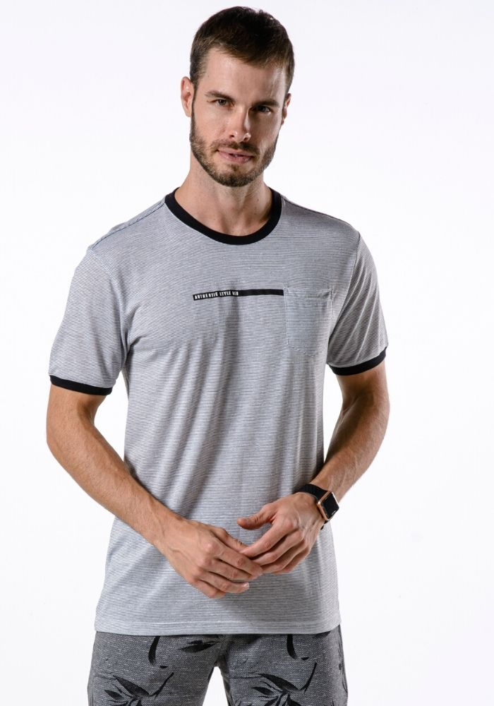 Camiseta Manga Curta Authentic Style Cinza Mescla