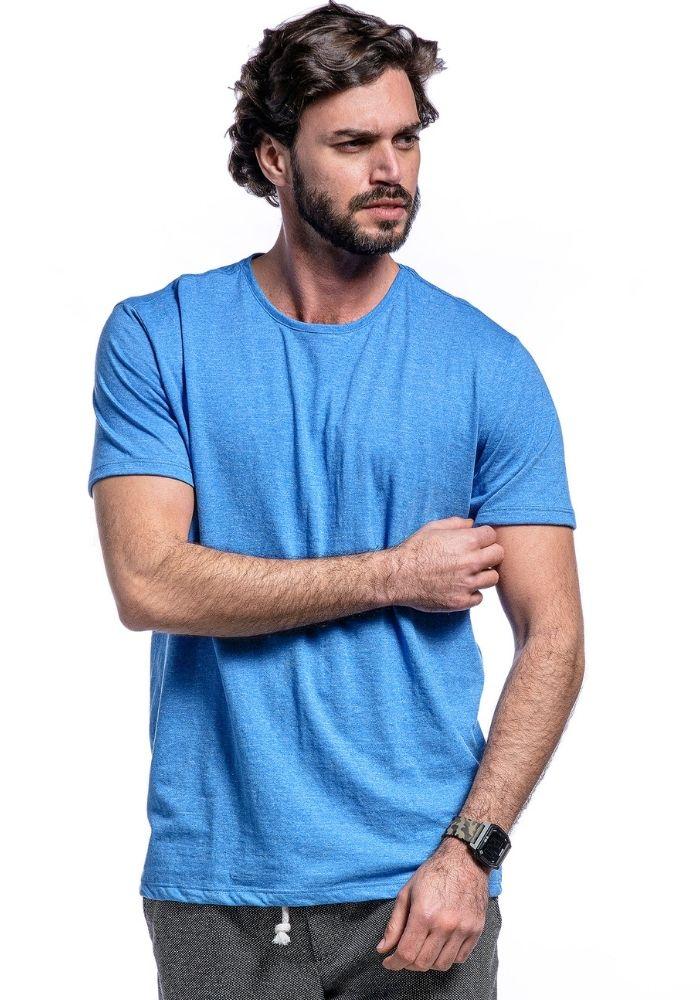 Camiseta Manga Curta Basics Cia Gota Azul Mescla