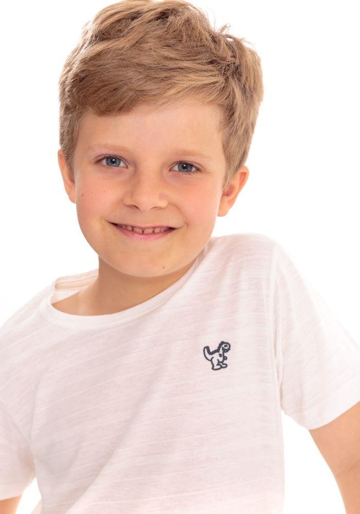 Camiseta Manga Curta Basic Kids Dino Branco
