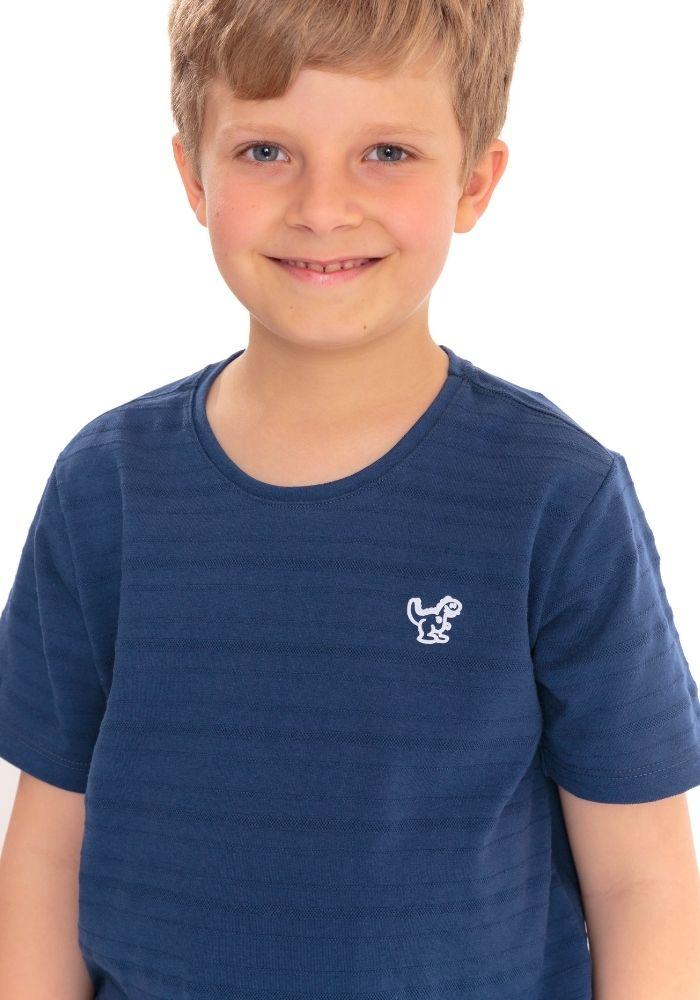 Camiseta Manga Curta Basic Kids Dino Marinho