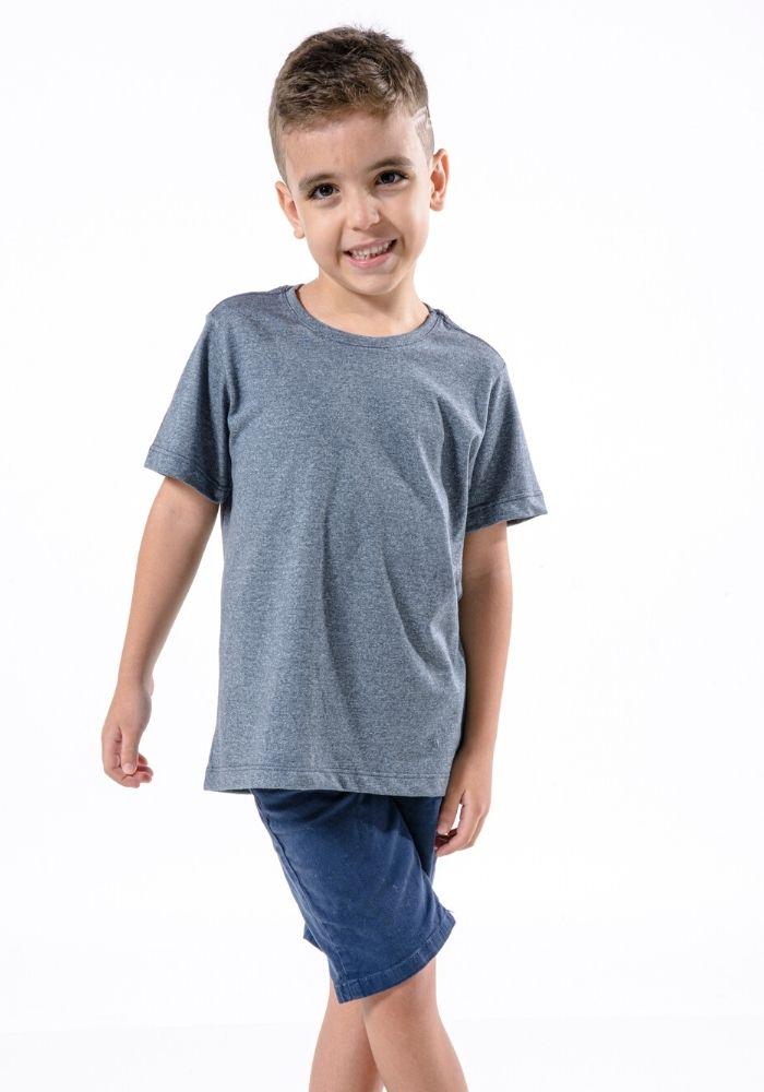Camiseta Manga Curta Basic Kids Marinho Mescla