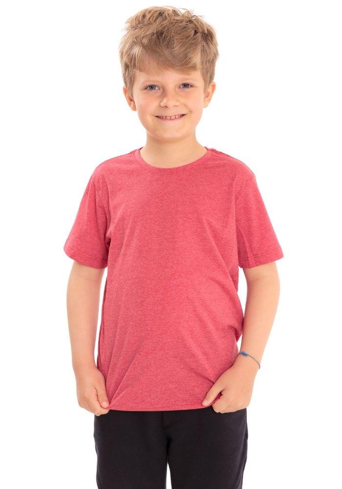 Camiseta Manga Curta Basic Kids Vermelho Mescla