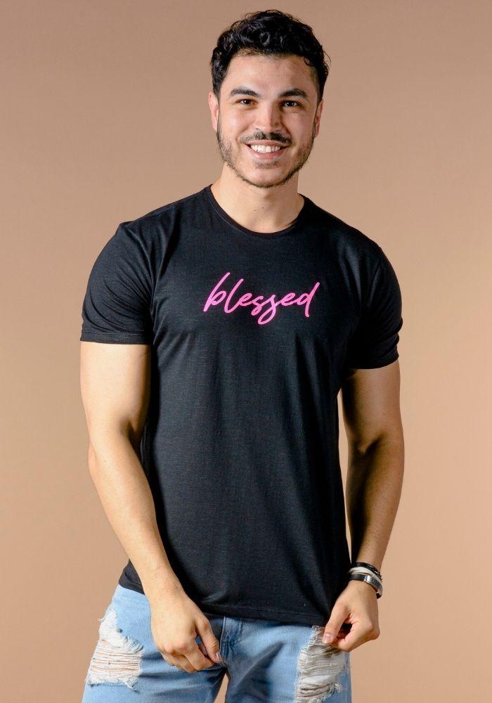 Camiseta Manga Curta Blessed Preta