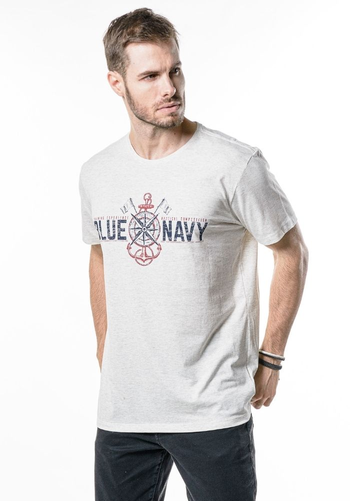 Camiseta Manga Curta Blue Navy Mescla Banana
