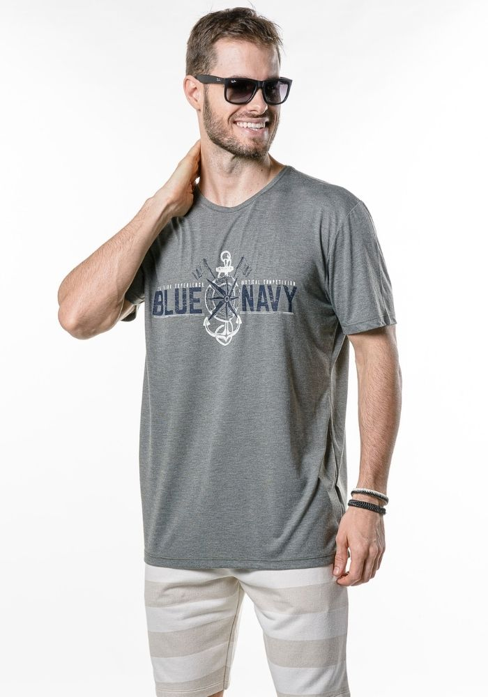 Camiseta Manga Curta Blue Navy Verde Mescla