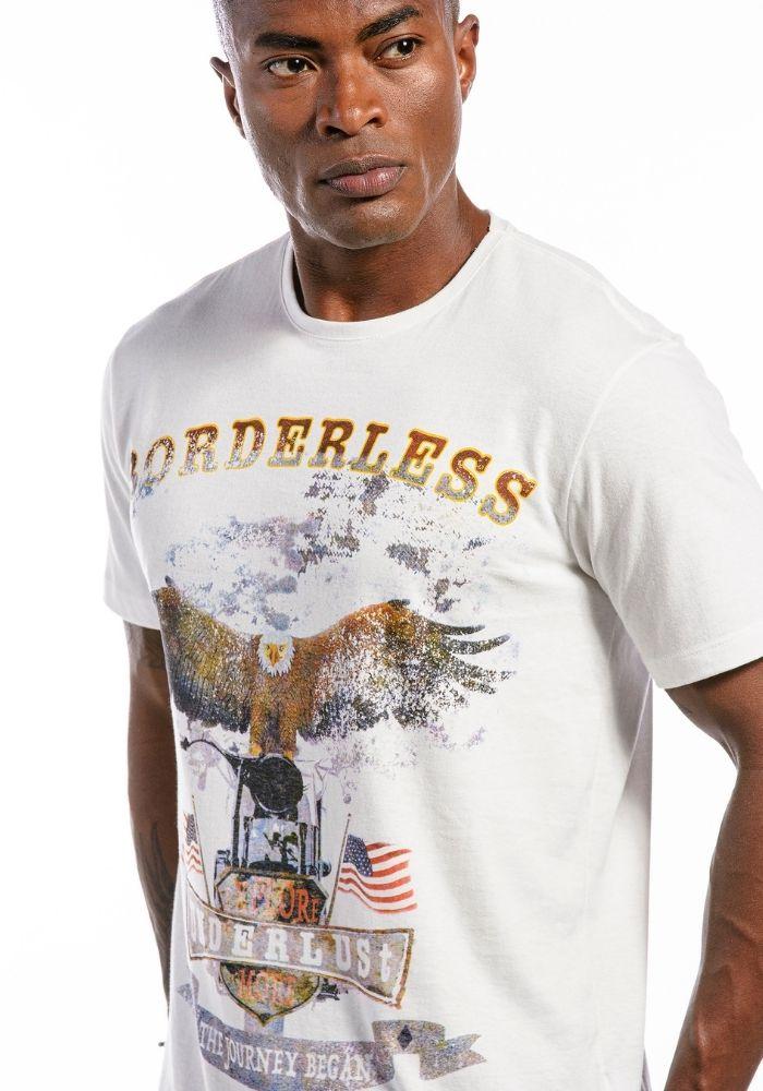 Camiseta Manga Curta Borderless Branco Sujo